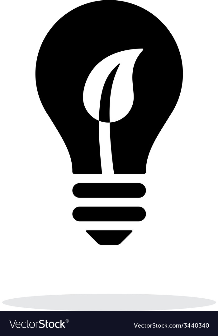 Eco light bulb icon on white background vector | Price: 1 Credit (USD $1)