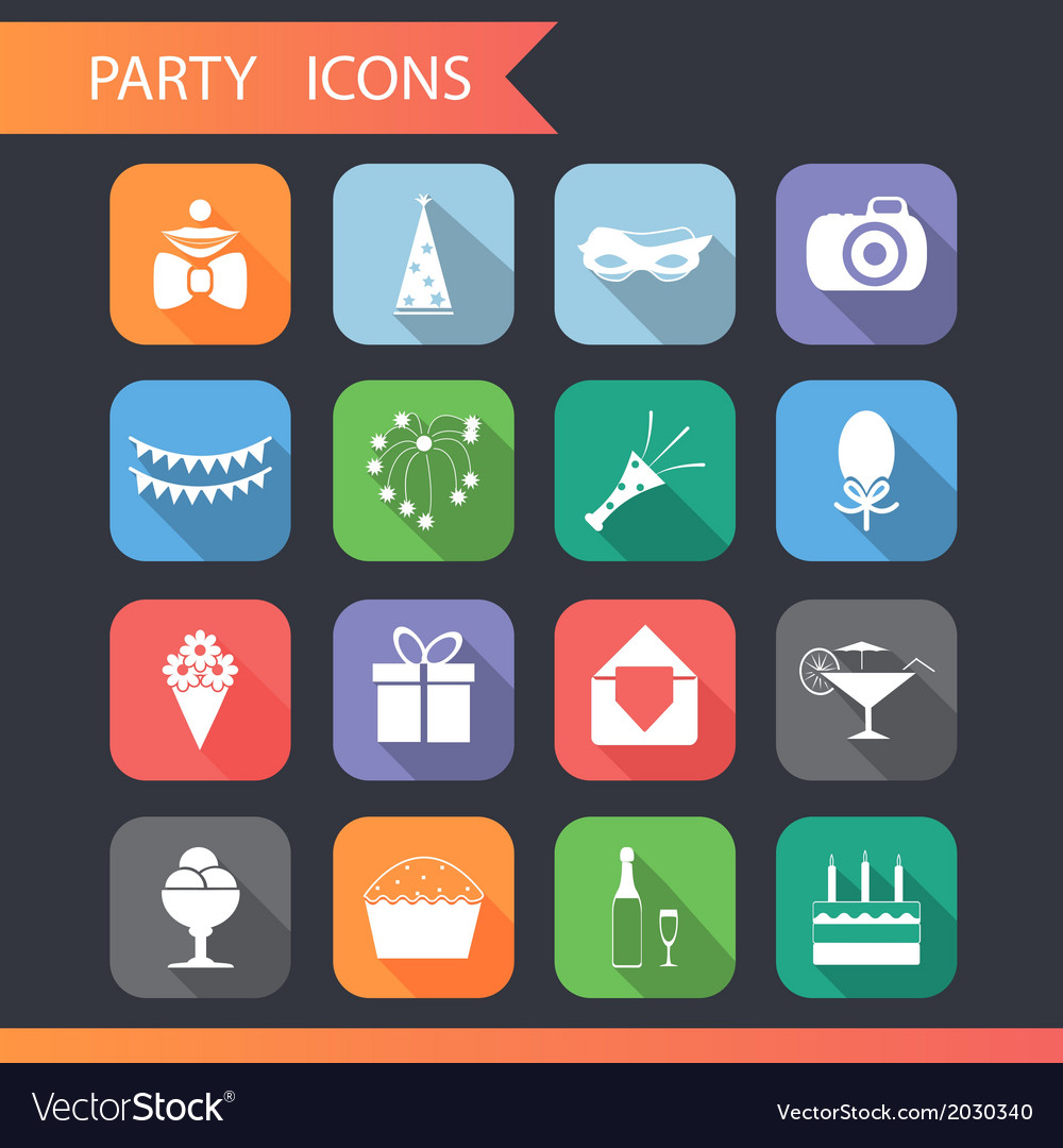 Flat birthday party celebrate icons and symbols vector | Price: 1 Credit (USD $1)
