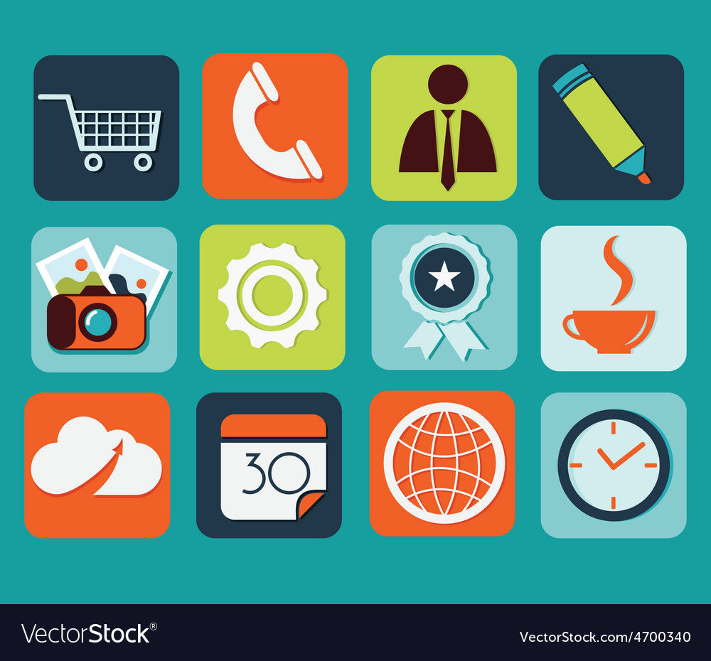 Flat icons for web and mobile applications vector | Price: 1 Credit (USD $1)