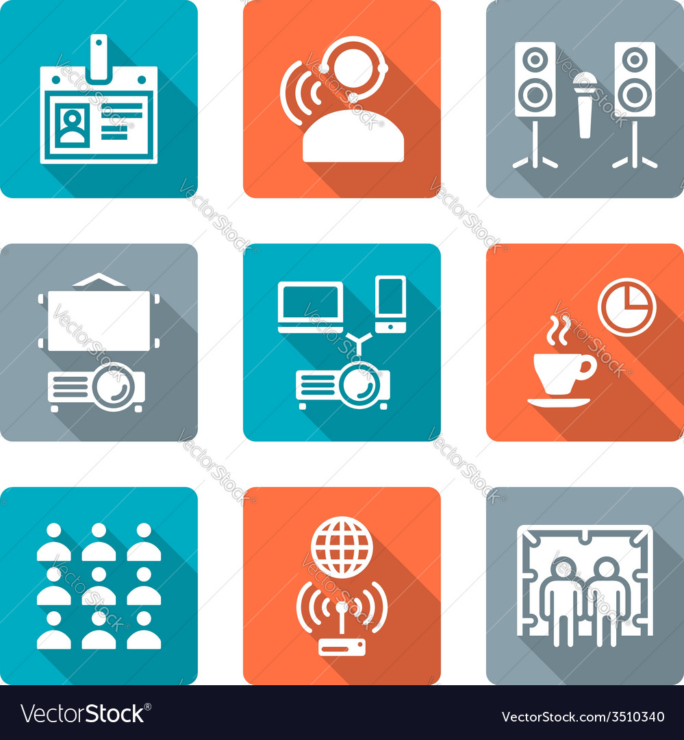 Flat style conference concept white icons set vector | Price: 1 Credit (USD $1)