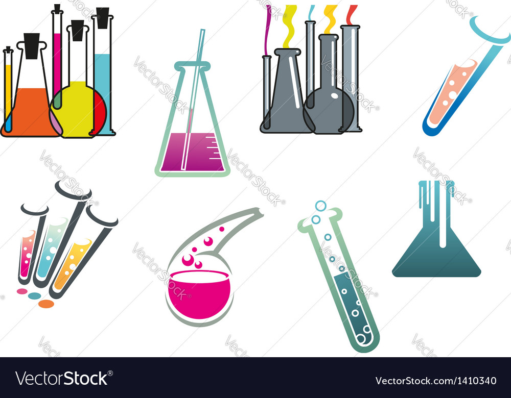 Laboratory and test tubes set vector | Price: 1 Credit (USD $1)