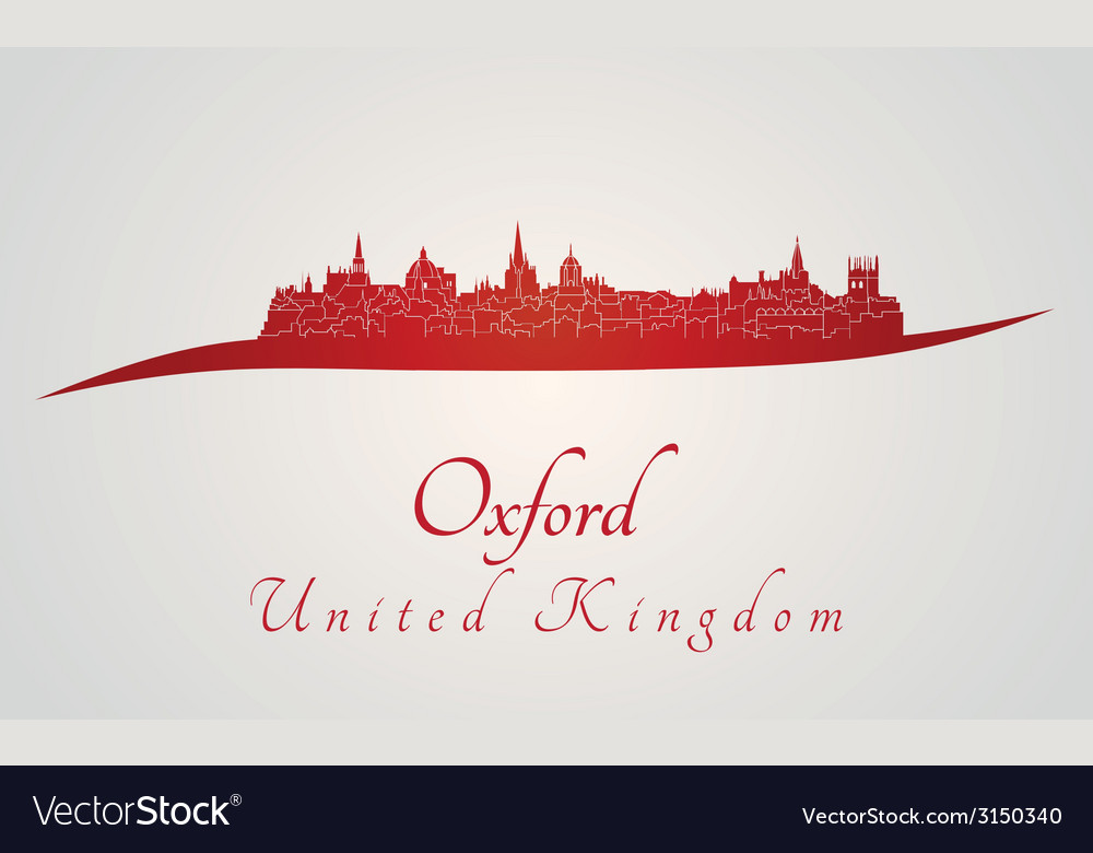 Oxford skyline in red vector | Price: 1 Credit (USD $1)