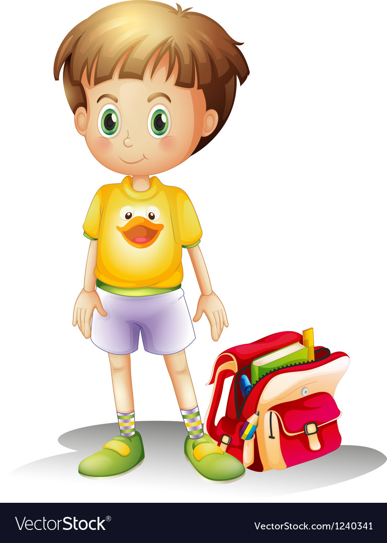 A young boy with his school bag vector | Price: 1 Credit (USD $1)