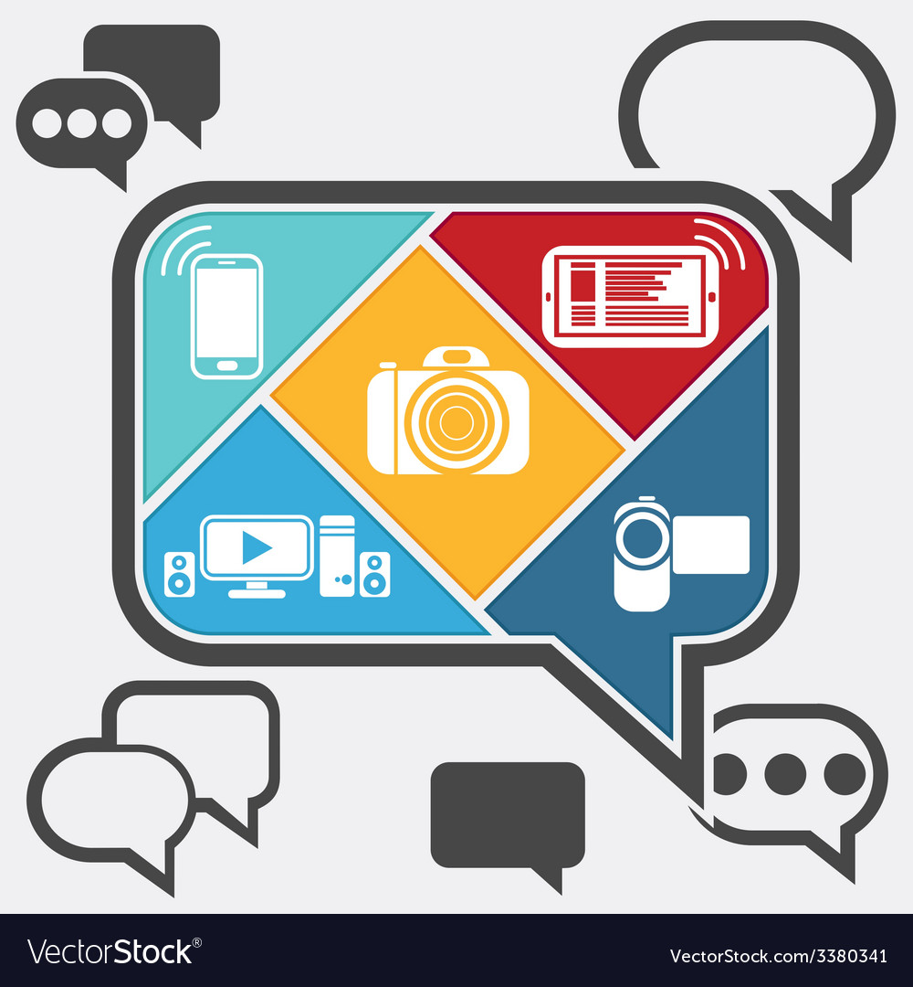 Bubble chatting infographic with icons mobile vector | Price: 1 Credit (USD $1)