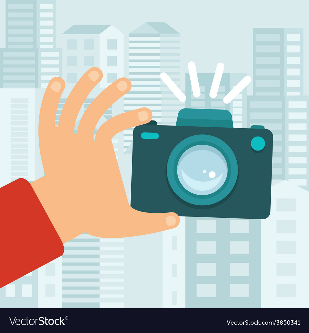 Camera in flat style vector | Price: 1 Credit (USD $1)