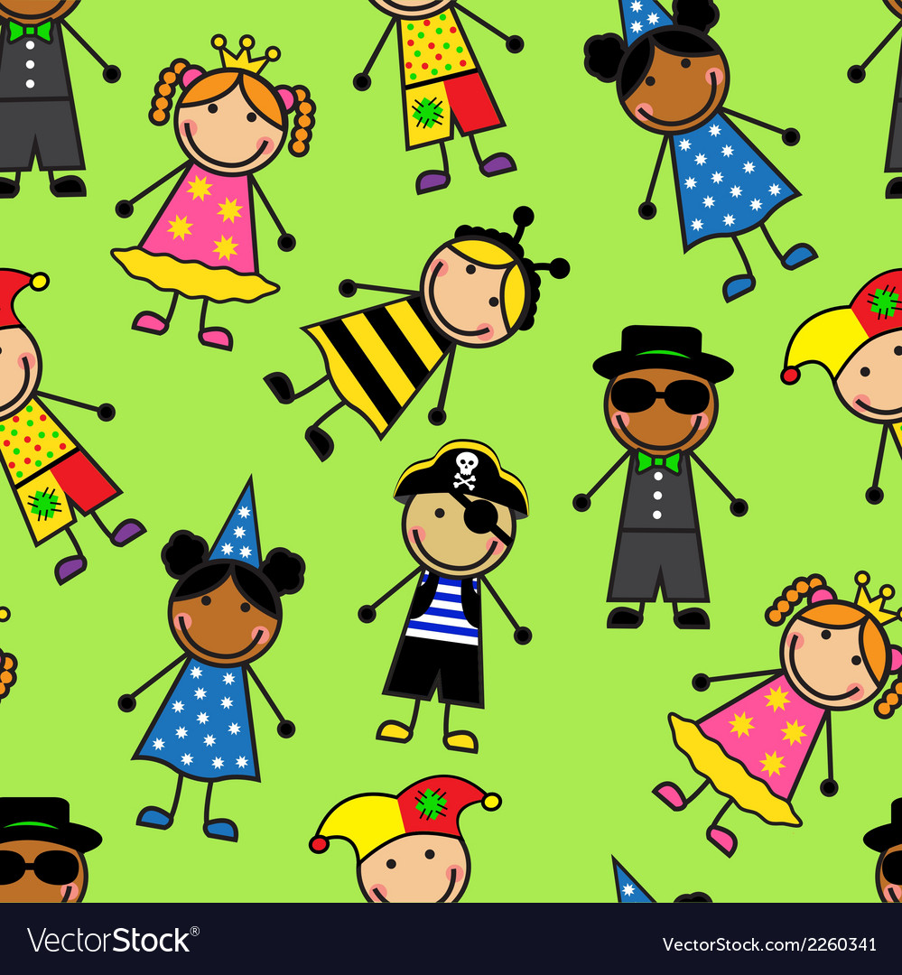 Cartoon seamless pattern with children in differen vector | Price: 1 Credit (USD $1)