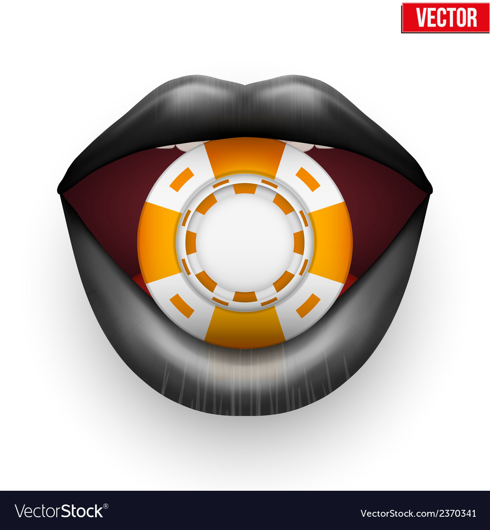 Casino orange chips in female black lips vector | Price: 1 Credit (USD $1)