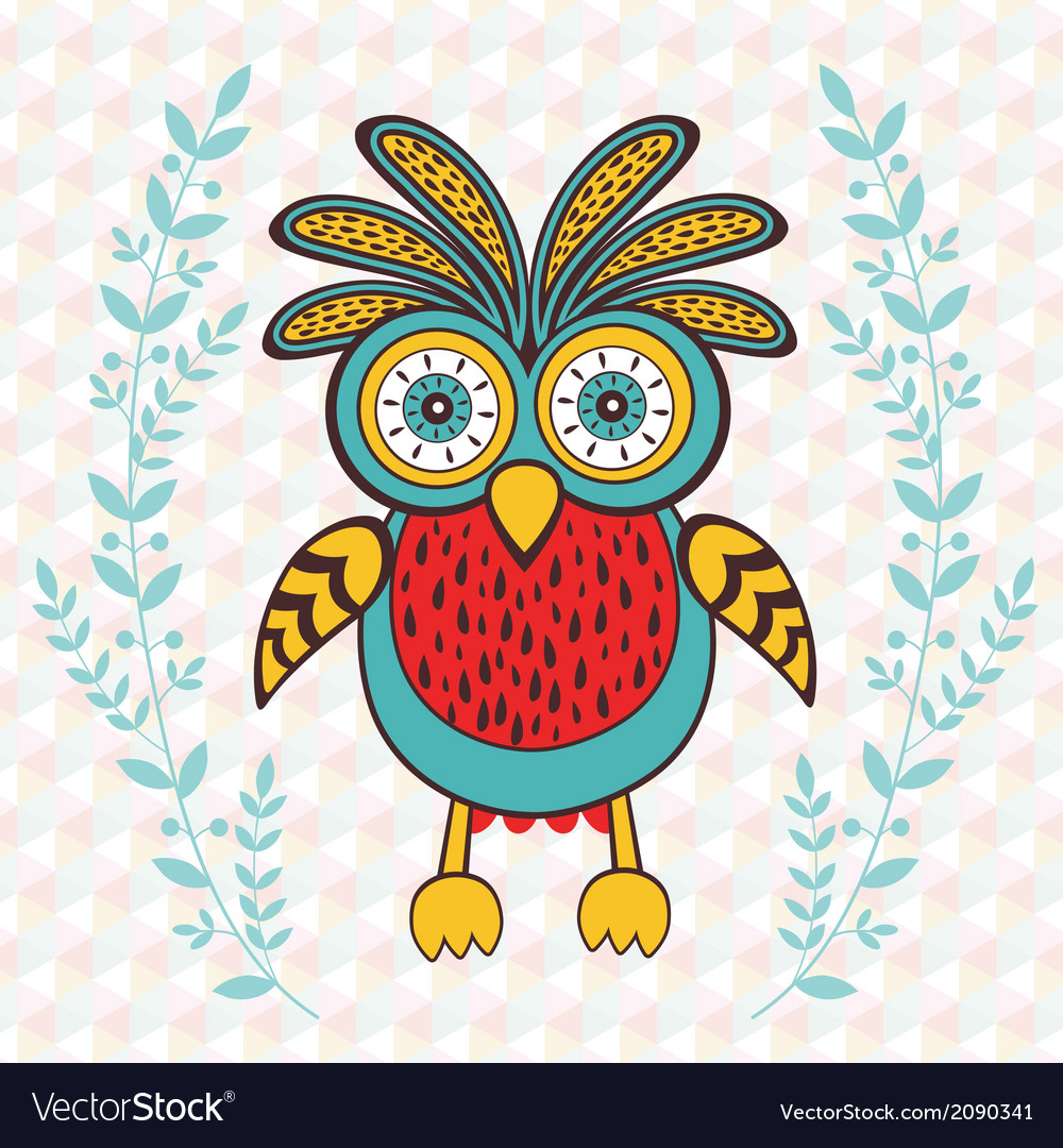 Cute spring owl vector | Price: 1 Credit (USD $1)