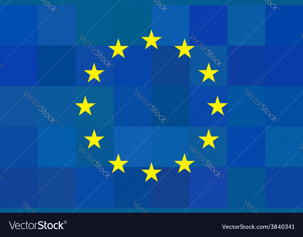European union flag on unusual blue squares vector | Price: 1 Credit (USD $1)