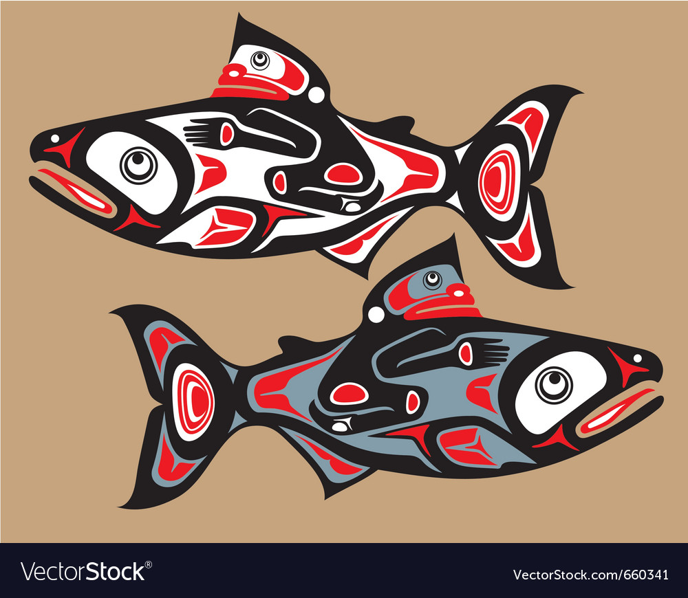 Fish - salmon - native american style vector | Price: 1 Credit (USD $1)