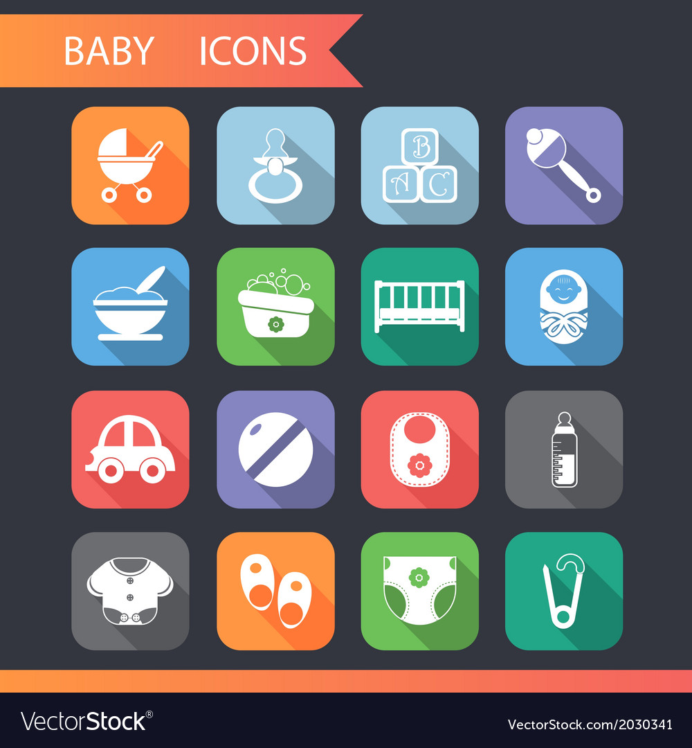 Flat baby and childhood icons symbols set vector | Price: 1 Credit (USD $1)