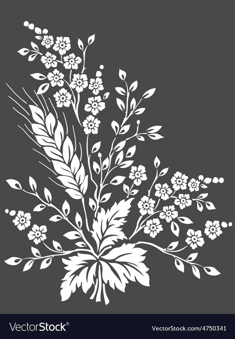 Floral design element for page decoration vector