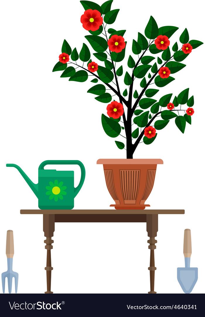 Flowerpot in pot watering can vector   Price: 1 Credit (USD $1)
