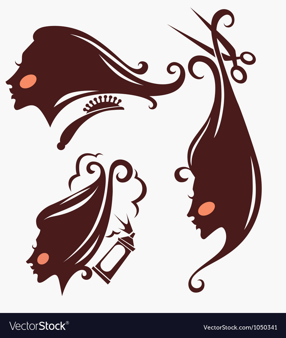 Head silhouettes and hairdresser equipment vector | Price: 1 Credit (USD $1)