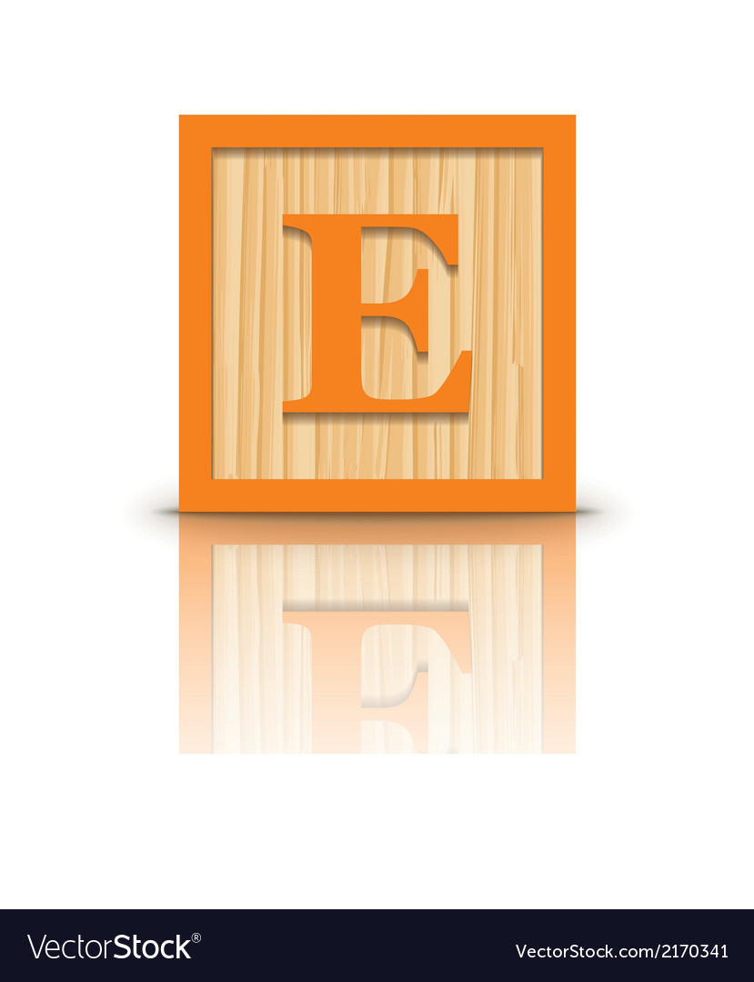 Letter e wooden alphabet block vector | Price: 1 Credit (USD $1)