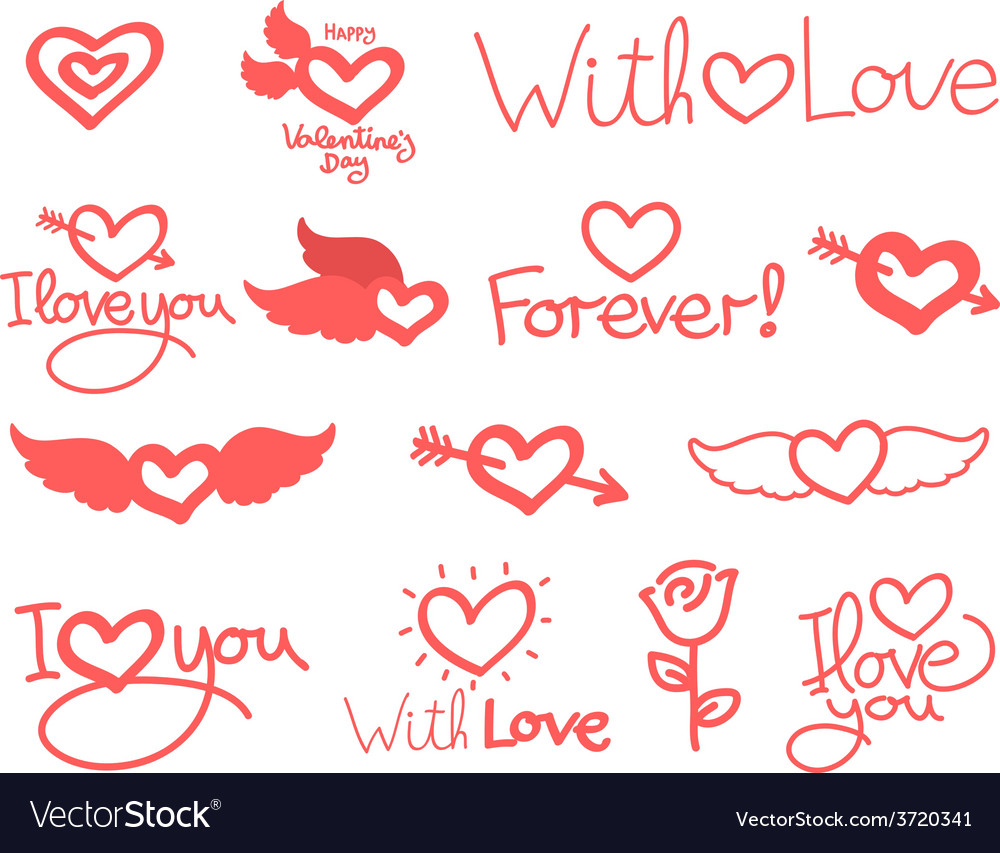 Lettering day happy valentine for card set vector | Price: 1 Credit (USD $1)