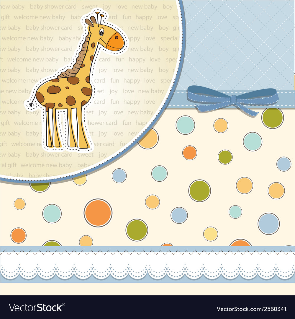New baby announcement card with giraff vector | Price: 1 Credit (USD $1)