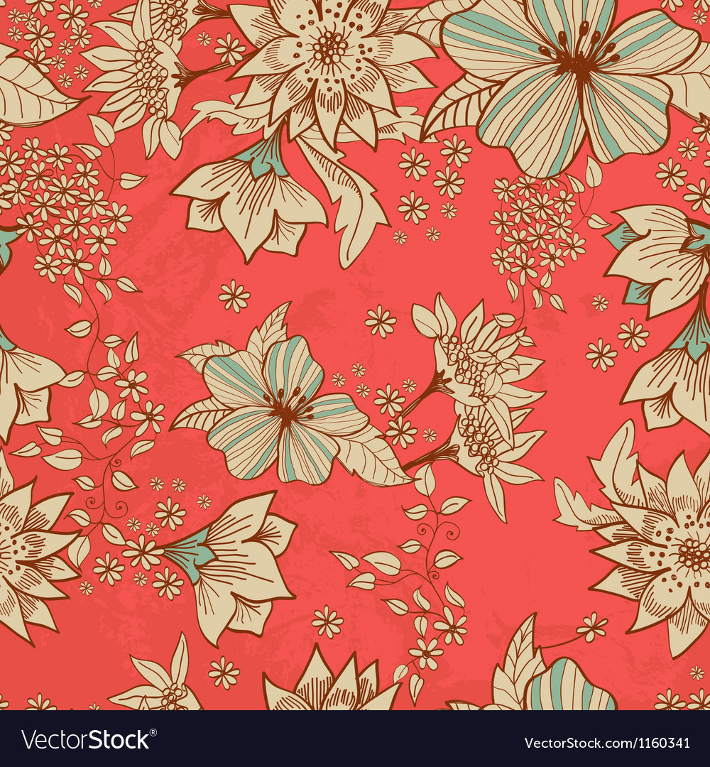 Seamless red floral background vector | Price: 1 Credit (USD $1)