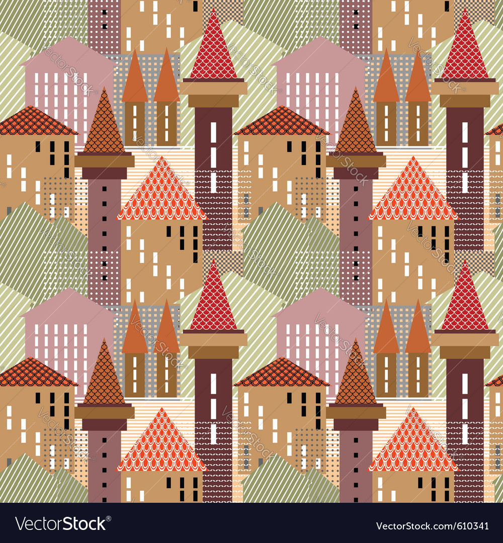 Seamless town pattern vector | Price: 1 Credit (USD $1)