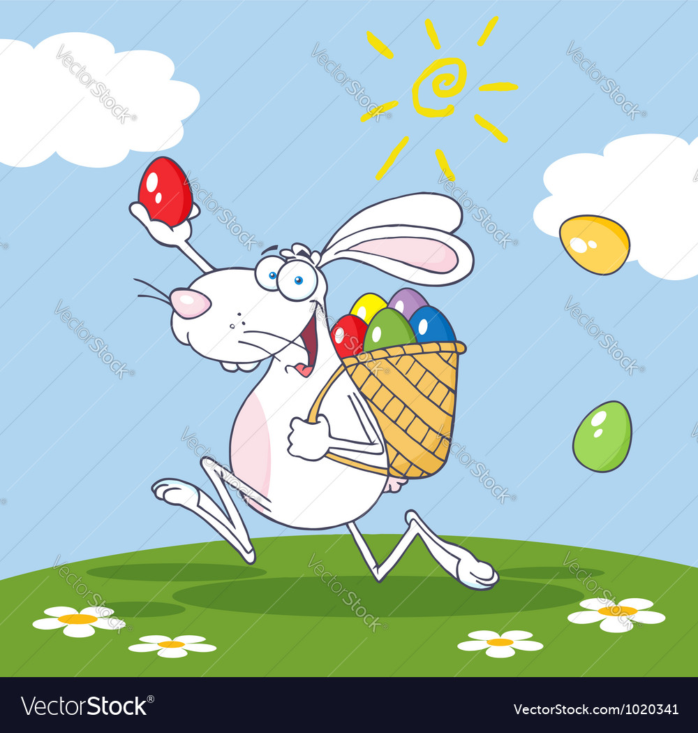 White bunny participating in an easter egg hunt vector | Price: 3 Credit (USD $3)