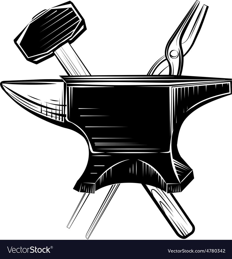 Blacksmith anvil on white background vector | Price: 1 Credit (USD $1)