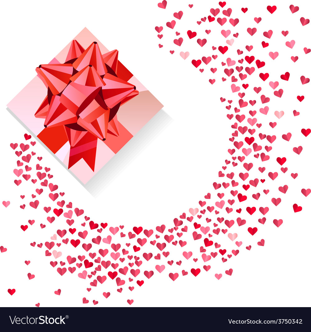 Box with red bow and confetti hearts on white vector | Price: 1 Credit (USD $1)