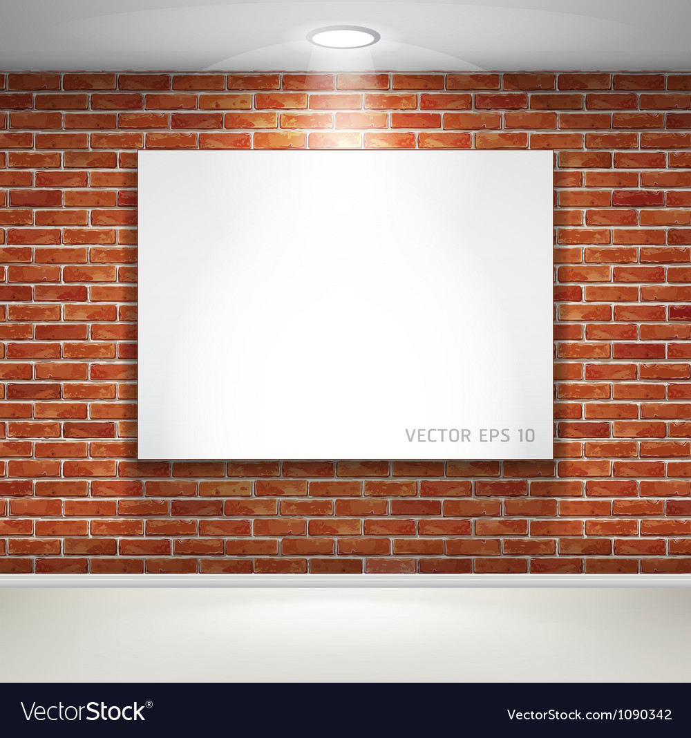 Gallery exhibition picture frames on brick wall vector | Price: 1 Credit (USD $1)