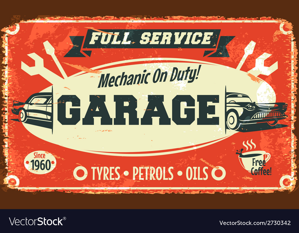 Retro car service sign vector | Price: 1 Credit (USD $1)