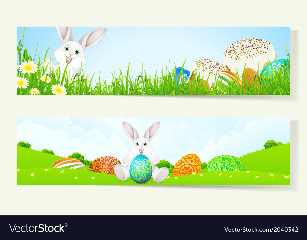 Set of two easter banners vector | Price: 1 Credit (USD $1)