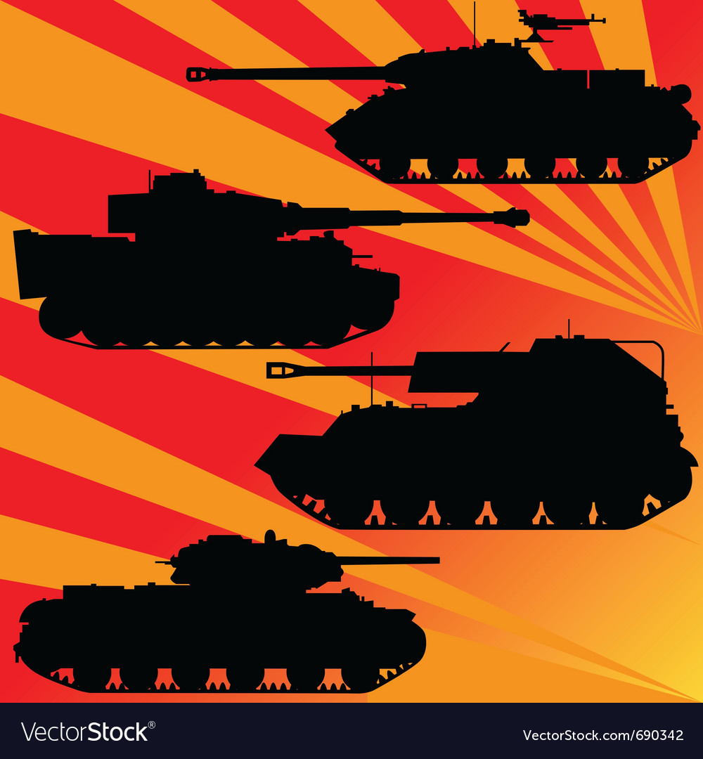 Silhouettes of military equipment vector | Price: 1 Credit (USD $1)