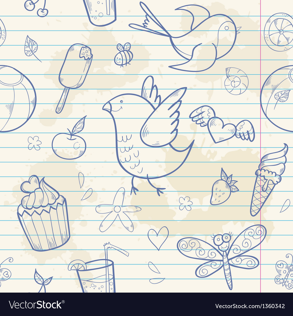 Summer note paper doodle seamless pattern vector | Price: 3 Credit (USD $3)