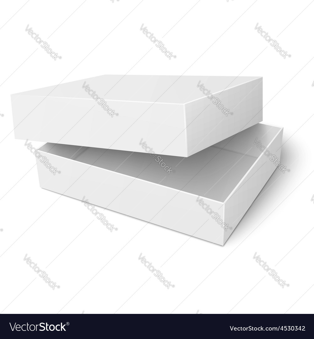 Template of white cardboard box with opened lid vector | Price: 1 Credit (USD $1)