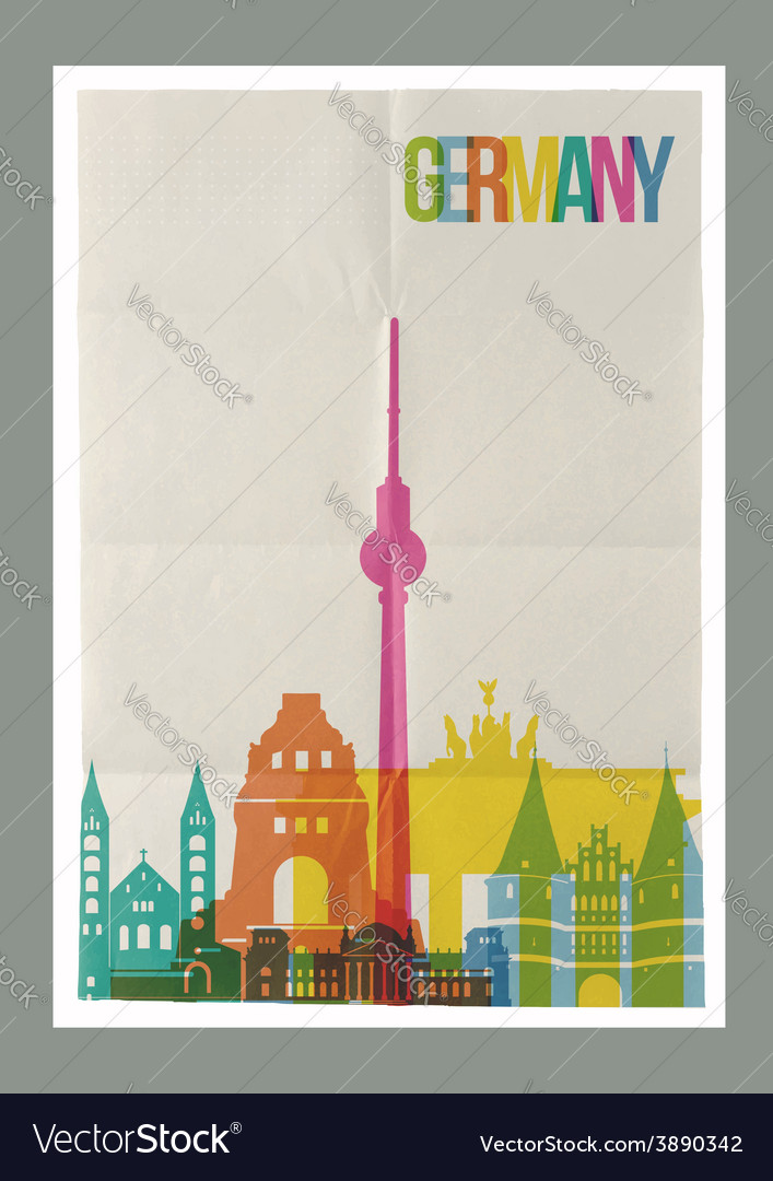Travel germany landmarks skyline vintage poster vector | Price: 1 Credit (USD $1)