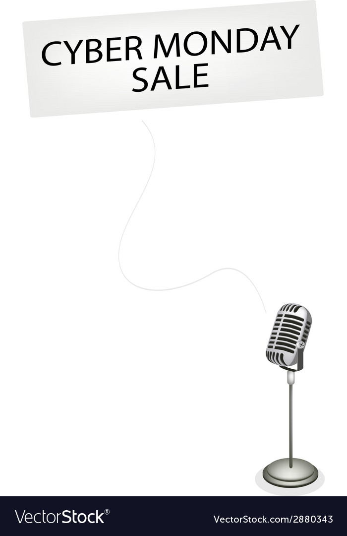A retro microphone broadcasting cyber monday sale vector   Price: 1 Credit (USD $1)