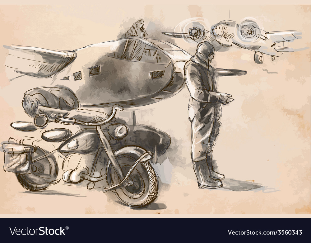 At the airport - a soldier on a motorcycle between vector | Price: 3 Credit (USD $3)