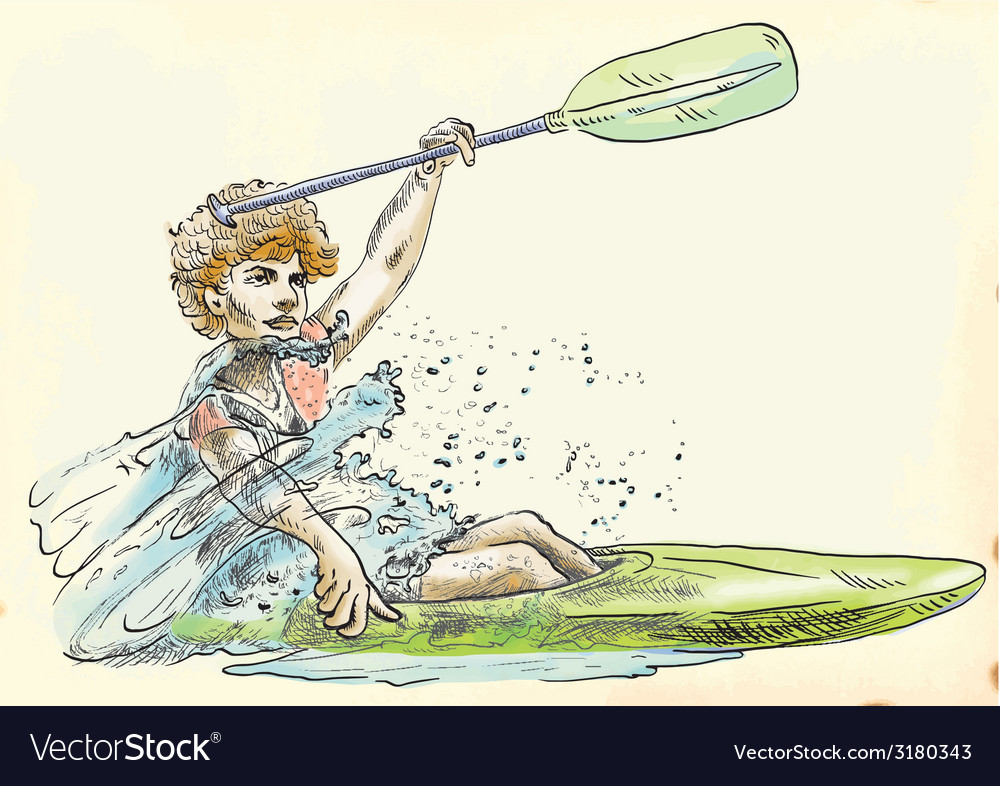 Athlete in a canoe vector | Price: 1 Credit (USD $1)