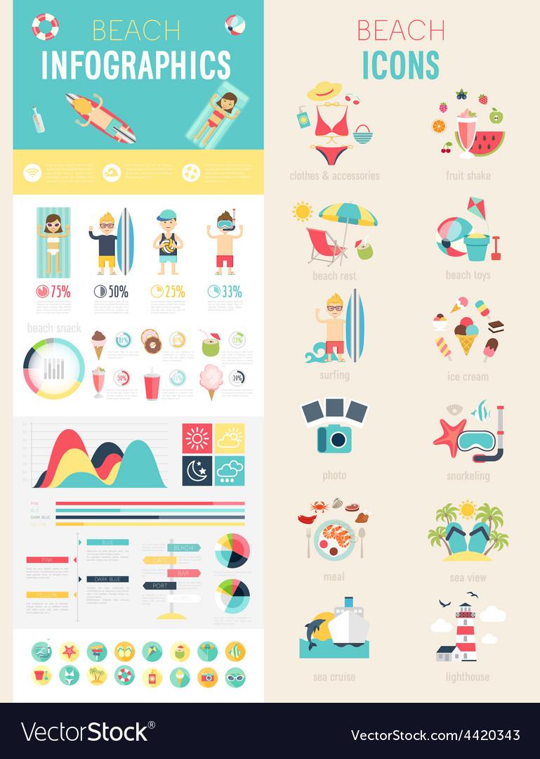 Beach infographic set vector | Price: 1 Credit (USD $1)