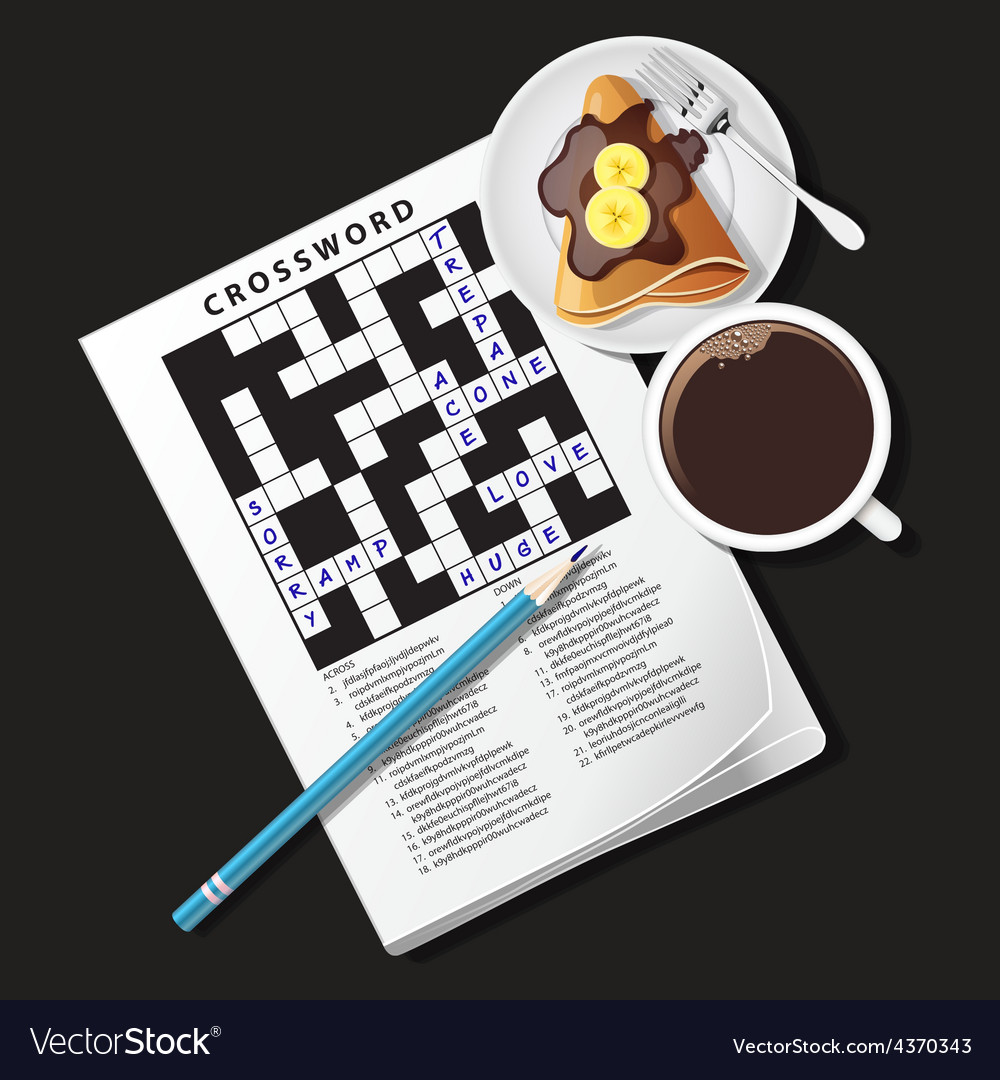 Crossword game mug of coffee and crepe vector | Price: 3 Credit (USD $3)