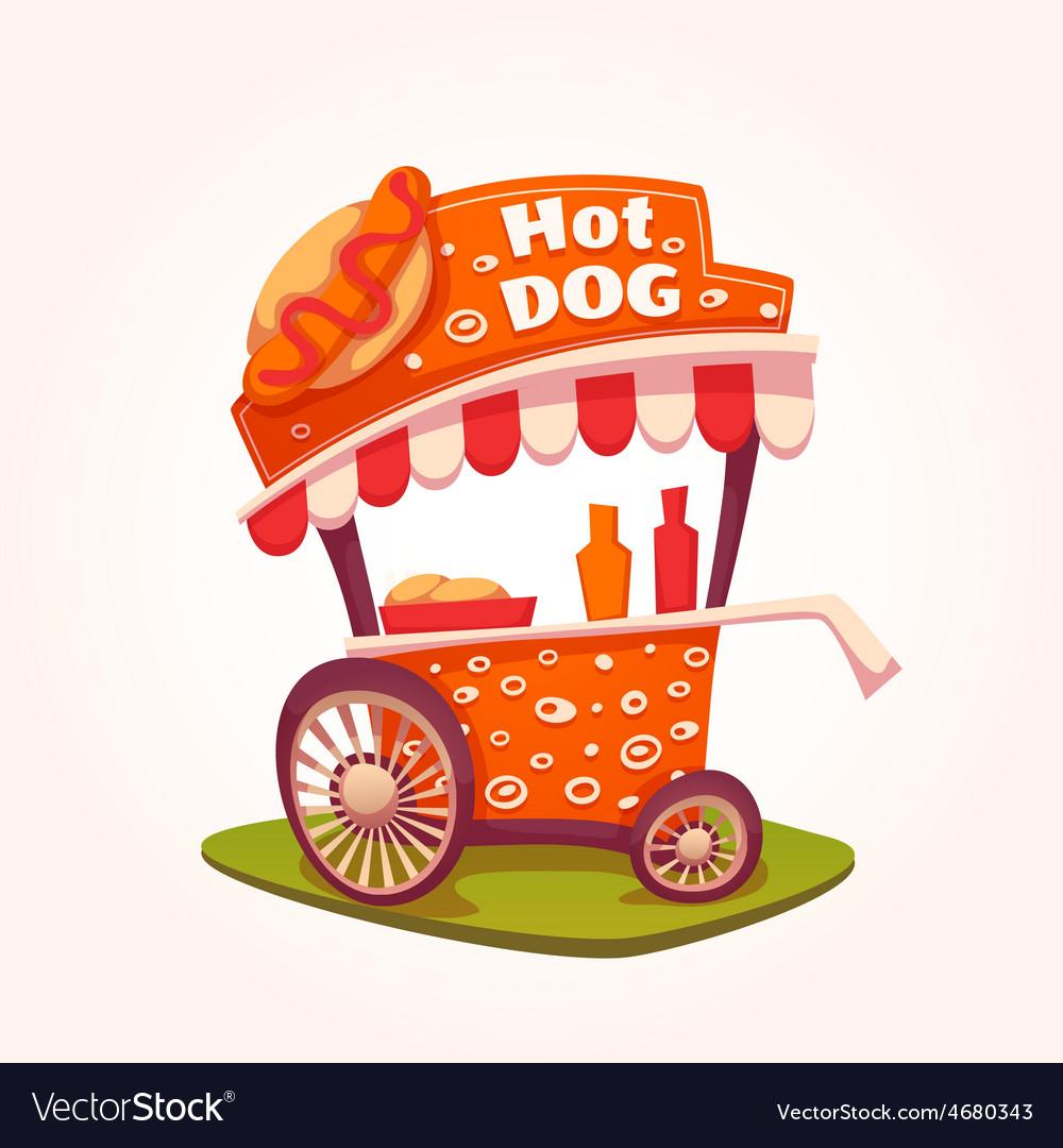 Flat of hot dog cart vector   Price: 5 Credit (USD $5)