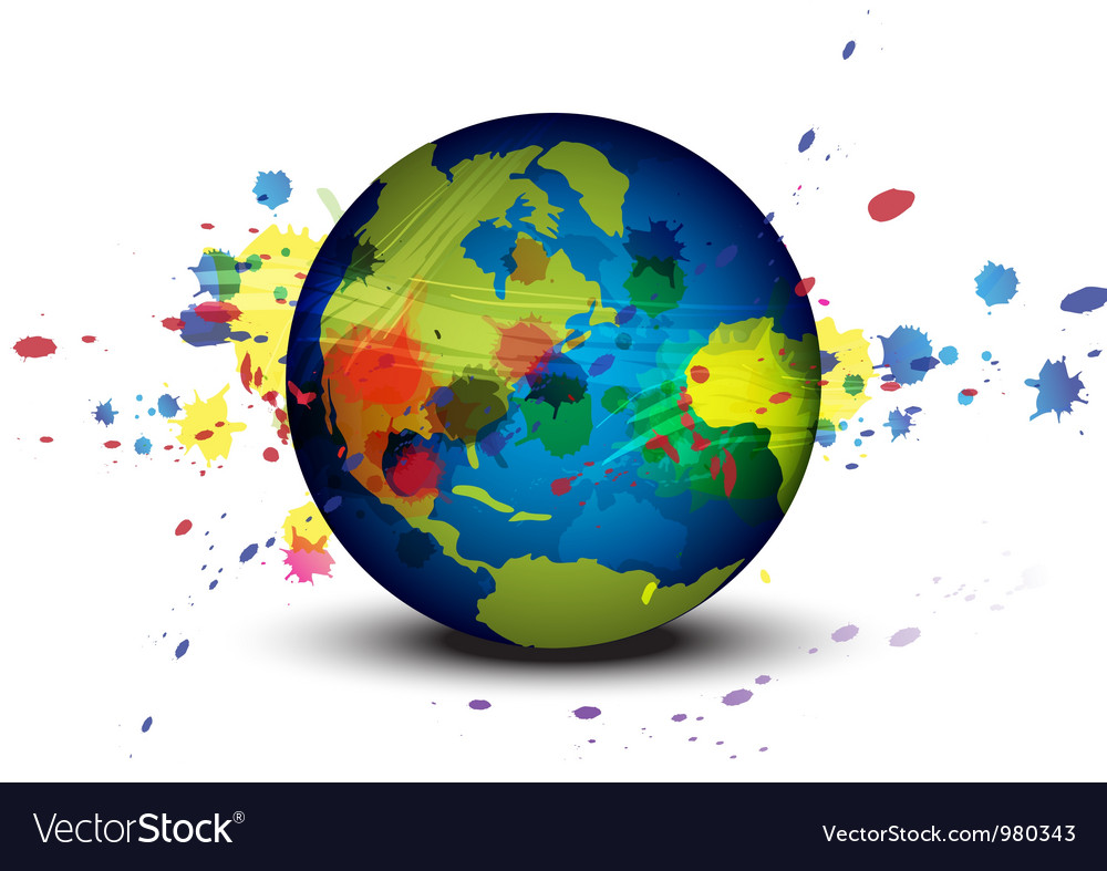 Globe and ink splatter background vector | Price: 1 Credit (USD $1)