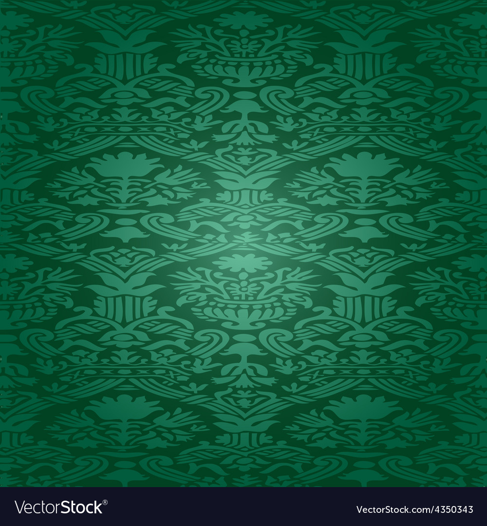 Green seamless abstract floral pattern background vector | Price: 1 Credit (USD $1)