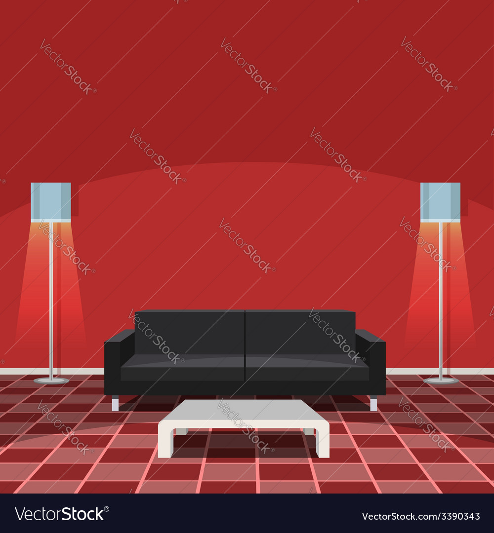 Modern living room - red vector | Price: 1 Credit (USD $1)