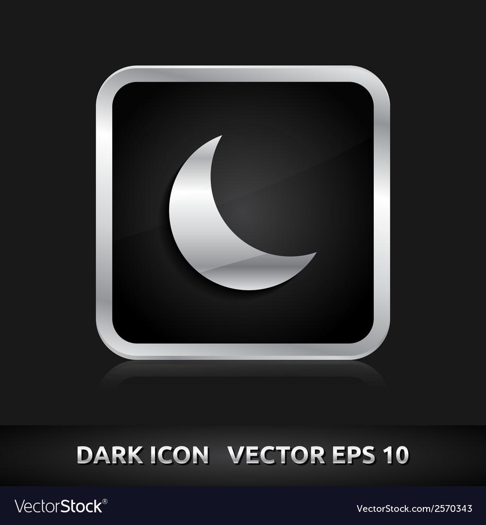 Moon icon silver metal vector | Price: 1 Credit (USD $1)
