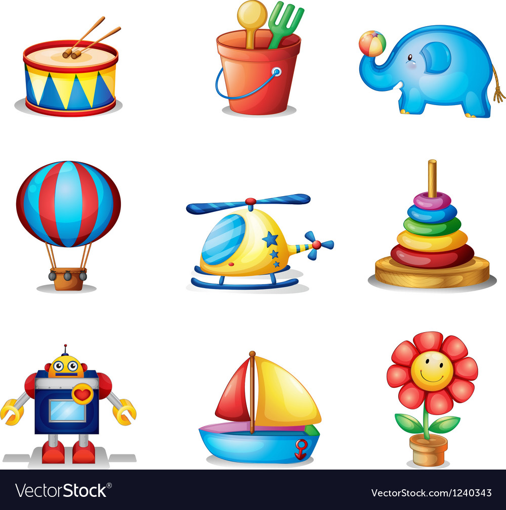 Nine different kinds of toys vector | Price: 1 Credit (USD $1)