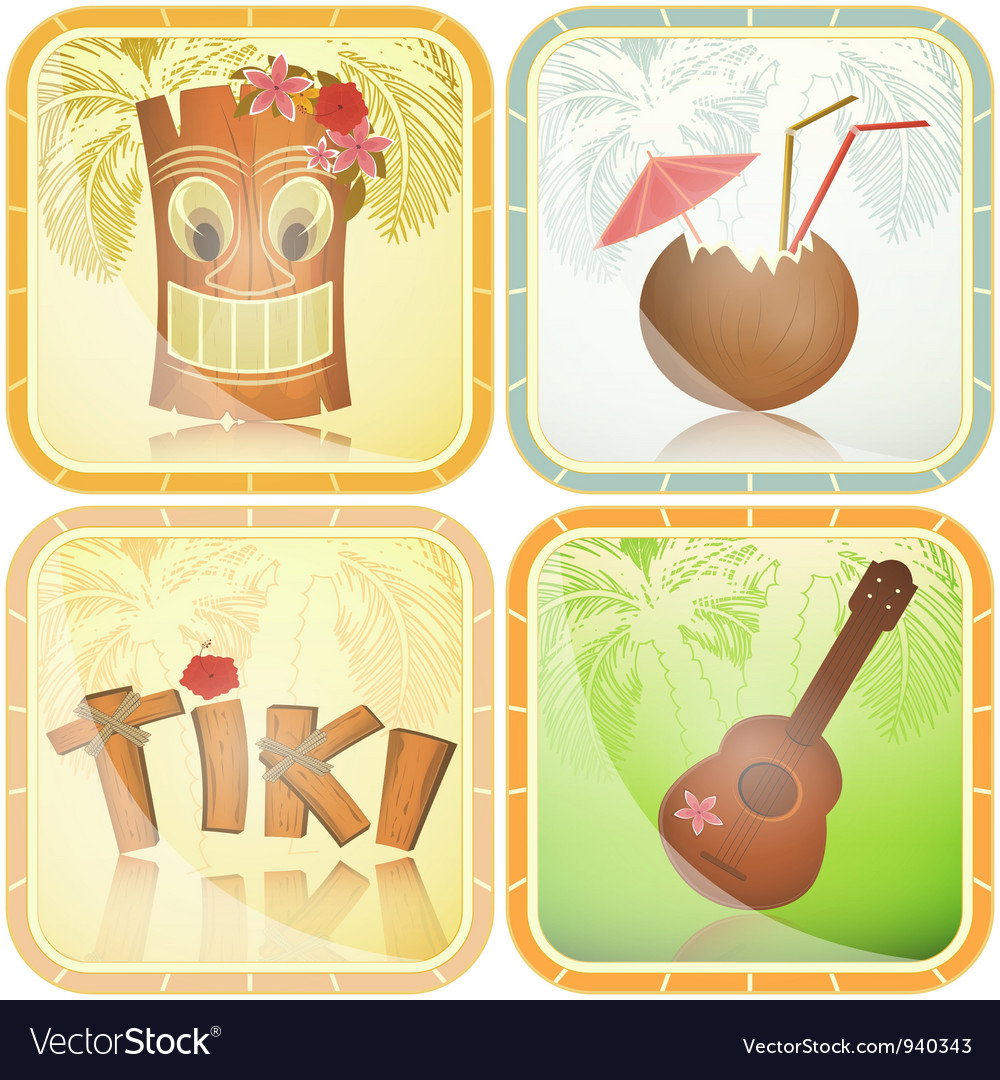 Set of hawaiian icons vector | Price: 3 Credit (USD $3)