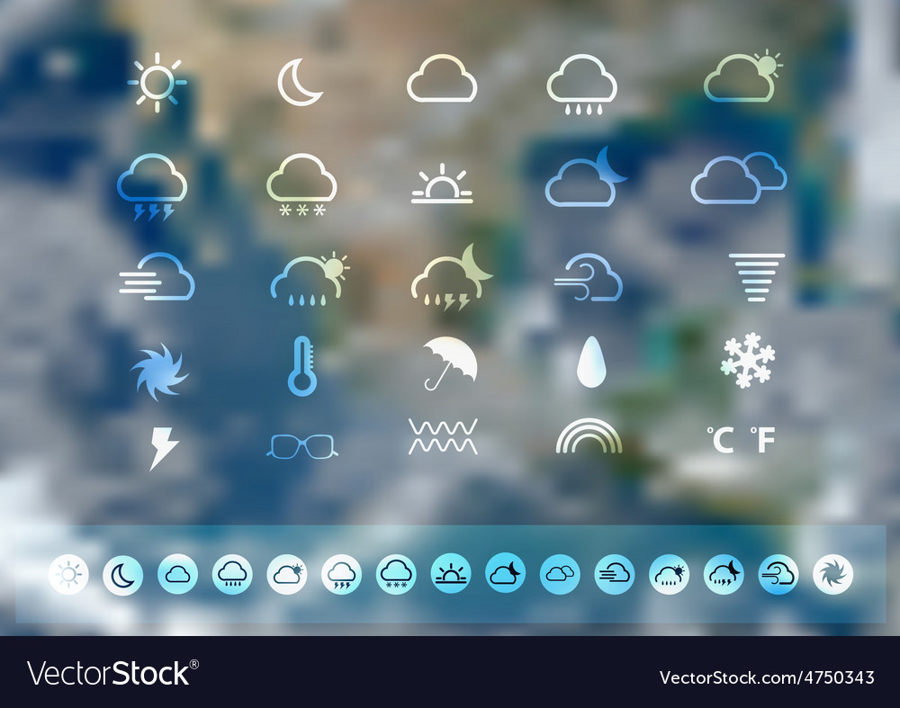 Weather icons set with blurred earth globe vector | Price: 1 Credit (USD $1)