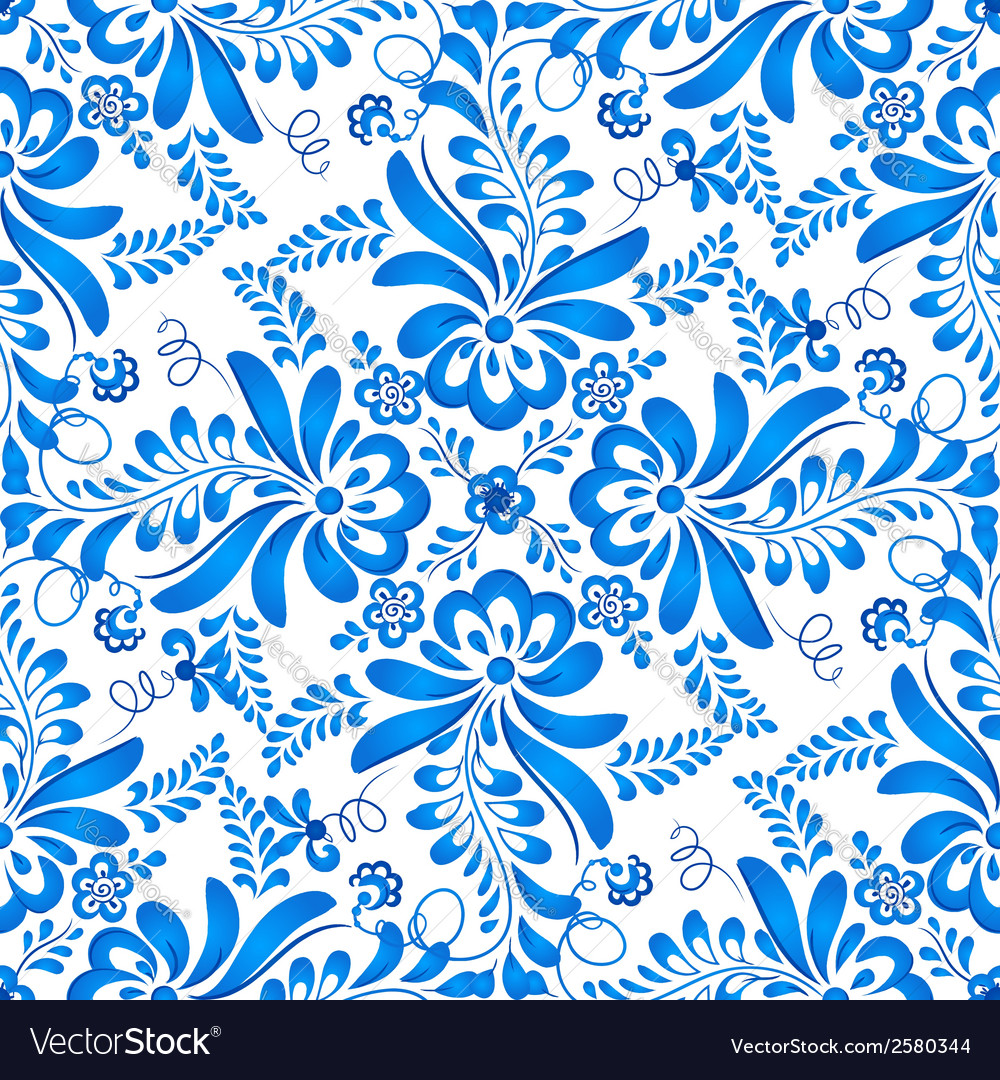 Blue floral seamless pattern in russian gzhel vector | Price: 1 Credit (USD $1)