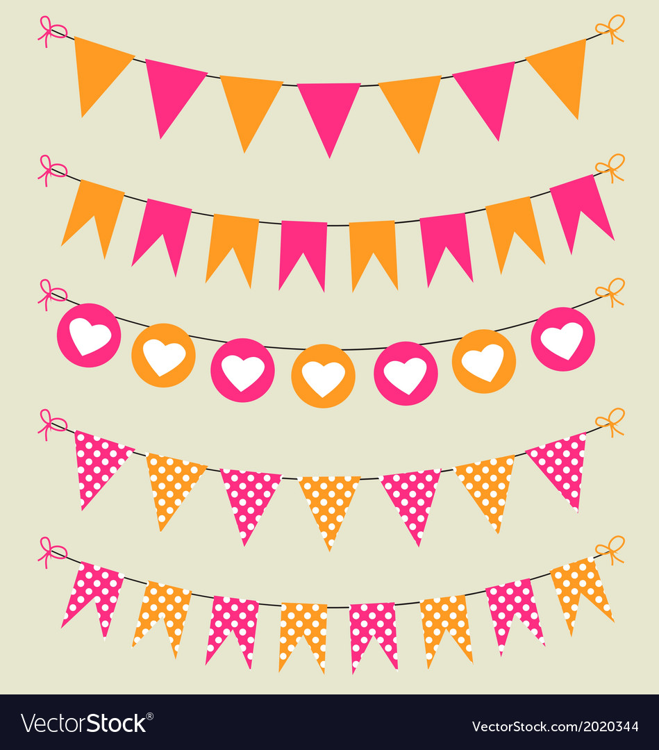 Bunting set pink and orange for scrapbook vector | Price: 1 Credit (USD $1)