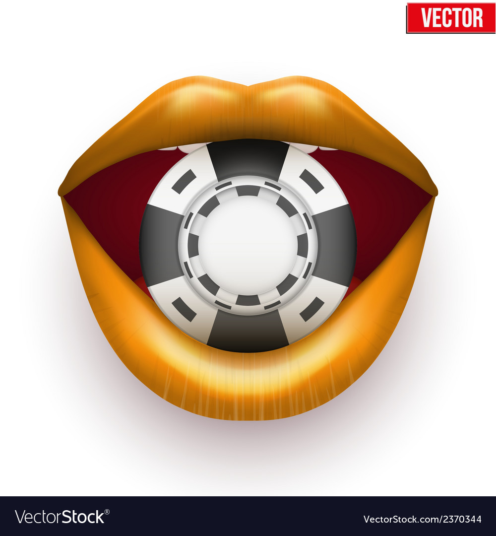 Casino black chips in female golden lips vector | Price: 1 Credit (USD $1)