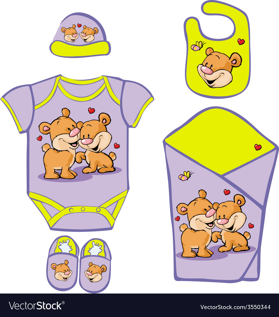 Cute baby layette with cute bear in love - vector | Price: 1 Credit (USD $1)